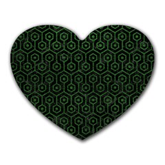 Hexagon1 Black Marble & Green Leather Heart Mousepads