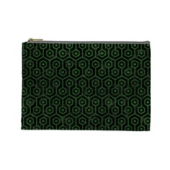 Hexagon1 Black Marble & Green Leather Cosmetic Bag (large)