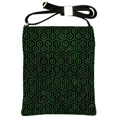 Hexagon1 Black Marble & Green Leather Shoulder Sling Bags