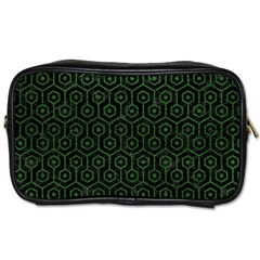 Hexagon1 Black Marble & Green Leather Toiletries Bags 2 Side
