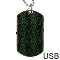 Hexagon1 Black Marble & Green Leather Dog Tag Usb Flash (two Sides)