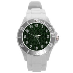 Hexagon1 Black Marble & Green Leather Round Plastic Sport Watch (l)