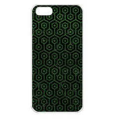 Hexagon1 Black Marble & Green Leather Apple Iphone 5 Seamless Case (white)