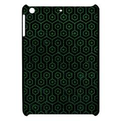 Hexagon1 Black Marble & Green Leather Apple Ipad Mini Hardshell Case