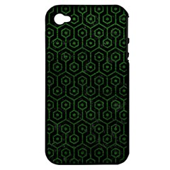 Hexagon1 Black Marble & Green Leather Apple Iphone 4/4s Hardshell Case (pc+silicone)