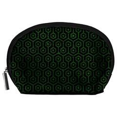 Hexagon1 Black Marble & Green Leather Accessory Pouches (large)