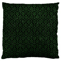 Hexagon1 Black Marble & Green Leather Large Flano Cushion Case (one Side)