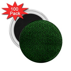 Hexagon1 Black Marble & Green Leather (r) 2 25  Magnets (100 Pack)