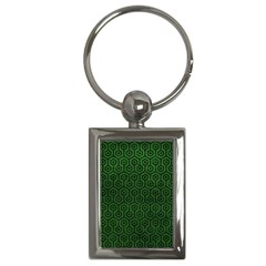 Hexagon1 Black Marble & Green Leather (r) Key Chains (rectangle)