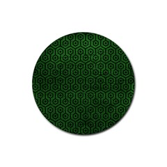 Hexagon1 Black Marble & Green Leather (r) Rubber Coaster (round)