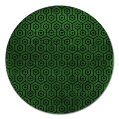 Hexagon1 Black Marble & Green Leather (r) Magnet 5  (round)
