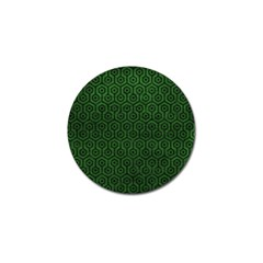 Hexagon1 Black Marble & Green Leather (r) Golf Ball Marker (4 Pack)