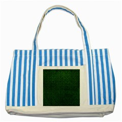 Hexagon1 Black Marble & Green Leather (r) Striped Blue Tote Bag