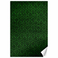 Hexagon1 Black Marble & Green Leather (r) Canvas 24  X 36