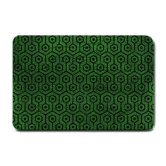 Hexagon1 Black Marble & Green Leather (r) Small Doormat