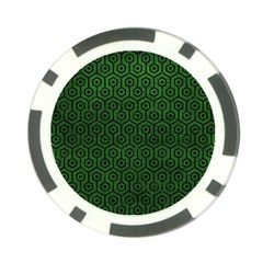 Hexagon1 Black Marble & Green Leather (r) Poker Chip Card Guard