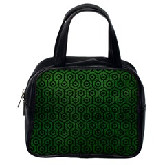 Hexagon1 Black Marble & Green Leather (r) Classic Handbags (one Side)