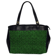 Hexagon1 Black Marble & Green Leather (r) Office Handbags (2 Sides)