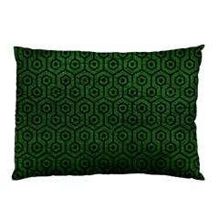 Hexagon1 Black Marble & Green Leather (r) Pillow Case (two Sides)