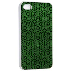 Hexagon1 Black Marble & Green Leather (r) Apple Iphone 4/4s Seamless Case (white)