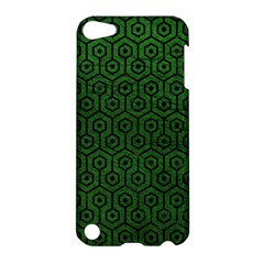 Hexagon1 Black Marble & Green Leather (r) Apple Ipod Touch 5 Hardshell Case