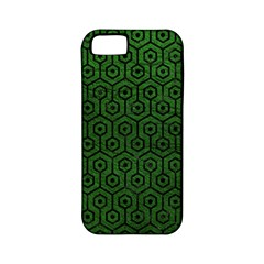 Hexagon1 Black Marble & Green Leather (r) Apple Iphone 5 Classic Hardshell Case (pc+silicone)