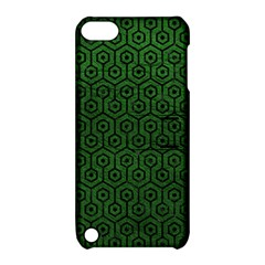 Hexagon1 Black Marble & Green Leather (r) Apple Ipod Touch 5 Hardshell Case With Stand