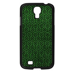 Hexagon1 Black Marble & Green Leather (r) Samsung Galaxy S4 I9500/ I9505 Case (black)