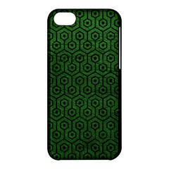 Hexagon1 Black Marble & Green Leather (r) Apple Iphone 5c Hardshell Case