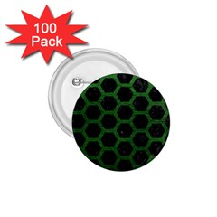 Hexagon2 Black Marble & Green Leather 1 75  Buttons (100 Pack)