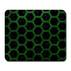Hexagon2 Black Marble & Green Leather Large Mousepads