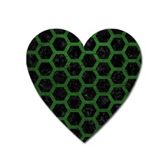 Hexagon2 Black Marble & Green Leather Heart Magnet