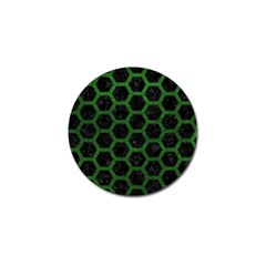 Hexagon2 Black Marble & Green Leather Golf Ball Marker (4 Pack)