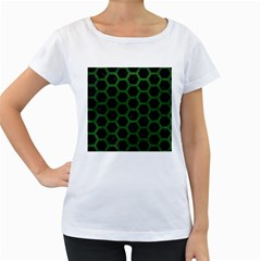 Hexagon2 Black Marble & Green Leather Women s Loose Fit T Shirt (white)