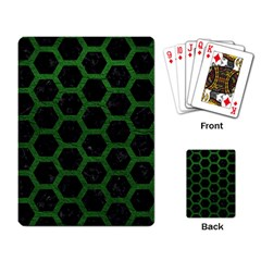 Hexagon2 Black Marble & Green Leather Playing Card