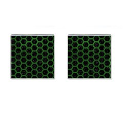 Hexagon2 Black Marble & Green Leather Cufflinks (square)