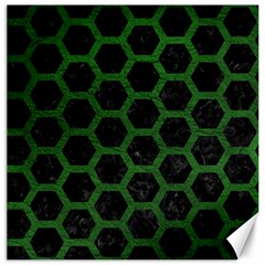 Hexagon2 Black Marble & Green Leather Canvas 12  X 12
