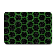 Hexagon2 Black Marble & Green Leather Small Doormat