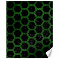 Hexagon2 Black Marble & Green Leather Canvas 11  X 14