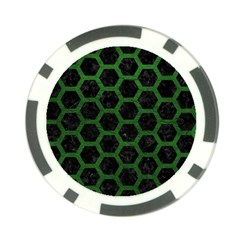 Hexagon2 Black Marble & Green Leather Poker Chip Card Guard