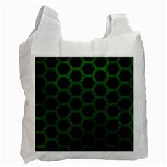 Hexagon2 Black Marble & Green Leather Recycle Bag (one Side)