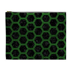 Hexagon2 Black Marble & Green Leather Cosmetic Bag (xl)