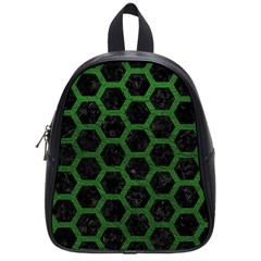 Hexagon2 Black Marble & Green Leather School Bag (small)
