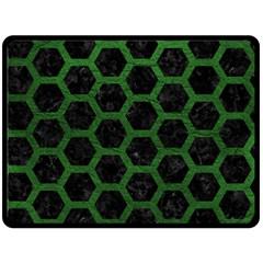 Hexagon2 Black Marble & Green Leather Fleece Blanket (large)