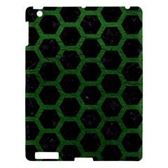 Hexagon2 Black Marble & Green Leather Apple Ipad 3/4 Hardshell Case