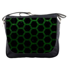Hexagon2 Black Marble & Green Leather Messenger Bags