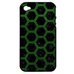 Hexagon2 Black Marble & Green Leather Apple Iphone 4/4s Hardshell Case (pc+silicone)
