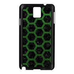 Hexagon2 Black Marble & Green Leather Samsung Galaxy Note 3 N9005 Case (black)