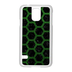 Hexagon2 Black Marble & Green Leather Samsung Galaxy S5 Case (white)