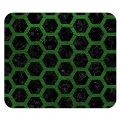 Hexagon2 Black Marble & Green Leather Double Sided Flano Blanket (small)